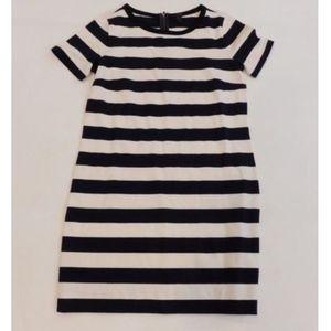 J Crew Ponte Striped Short Sleeve Shirt Dress XS